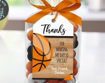 Basketball Birthday Thank You Tag, Printable Social Distancing Quarantine Party, Edit Online+Download Today With Free Corjl.com  1023