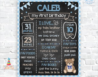 Teddy Bear Printable Chalkboard Sign - Milestone Poster - Instantly Download and Edit at Home with Adobe Reader - 1st 2nd 3rd Birthday TB10