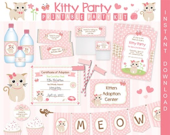 Kitty Cat Kitten Printable Party Kit   Kitty Invite & Decorations   INSTANT DOWNLOAD and Edit in Adobe Reader   Paper Craft Party