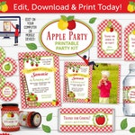 Apple Printable Party Kit Includes Invites and Decorations in RED, Edit Online + Download Today With Free Corjl.com AOR