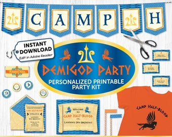 Demigod Party Kit, Demigod Party Decor, Printable Demigod Invite & Decorations, Percy Jackson, Camp Half-Blood, Greek God, INSTANT DOWNLOAD