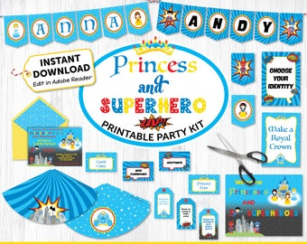 Princess and Superhero Printable Party Kit - Princess Superhero Invite & Decorations - INSTANT DOWNLOAD and Edit in Adobe Reader