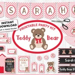 Teddy Bear Picnic Printable Party Kit - Pink & Red, Teddy Invite and Decor, Instantly Download and Edit at Home with free Adobe Reader TB12
