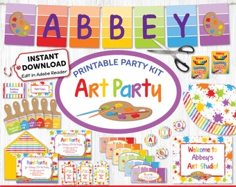 Art Party Kit, Artist Party Decorations, Printable Paint Party, Rainbow Birthday, Painting Party Decor, Art Party Banner, INSTANT DOWNLOAD