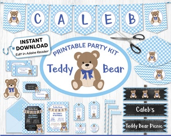 Teddy Bear Picnic Printable Party Kit - Blue - Teddy Bear Invite & Decorations - Instantly Download and Edit at Home with Adobe Reader TB10