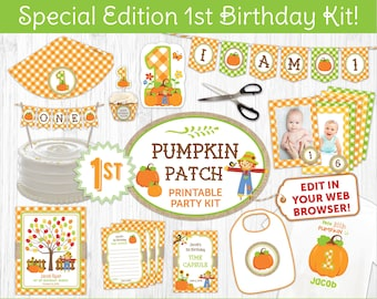 Pumpkin Patch Party Kit 1st Birthday Edition Printable Decor Includes Invite Instant Download Edit Online With Free Corjl