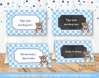 Teddy Bear Picnic Table Tents - Printable Teddy Bear Food Labels - Buffet Labels - Blue - Instant Downloading Edit and Adobe Reader TB10