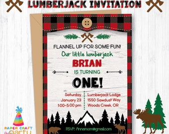 Lumberjack Invitation - Printable Lumberjack Invite - Nature Woodland Party - Buffalo Plaid - Instantly Download & Edit at Home Adobe Reader