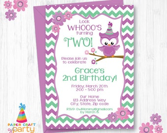 Owl Invitation - Printable Owl Birthday invite - Instantly Download and Edit at Home with Adobe Reader