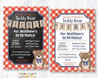 Teddy Bear Picnic Invitation - Red - Printable Teddy Bear Invite - Instantly Download and Edit at Home with Adobe Reader TB11