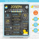 Rubber Ducky Printable Chalkboard Milestone Poster in BLUE for 1st 2nd 3rd 4th Birthday, Edit Online + Download Today With Free Corjl.com