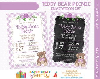 Teddy Bear Picnic Invitation   Lavender   Printable Teddy Bear Invite    Instantly Download And Edit At Home With Adobe Reader TB14