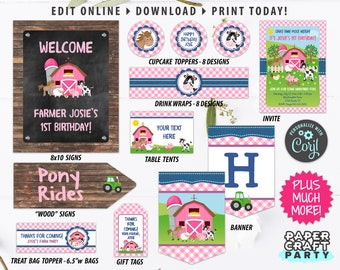 Farm Printable Party Kit Invites and Decorations in PINK, Edit Online + Download Today With Free Corjl.com 0047