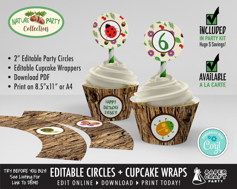 Scavenger Hunt Party Printable Circles & Cupcake Wrappers image 0