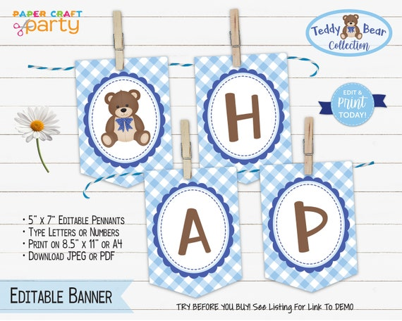 Teddy Bear Printable Birthday Banner Edit Online Download Today With Free Corjl Com Tb10 By Paper Craft Party Catch My Party