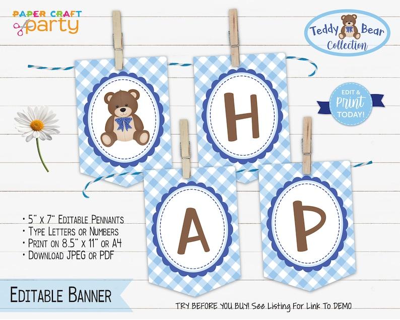 Teddy Bear Printable Birthday Banner Edit Online  Download image 0