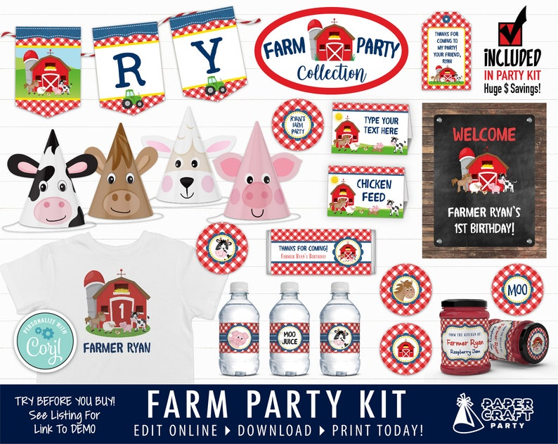 Farm Printable Party Kit Includes Invites and Decorations in image 0