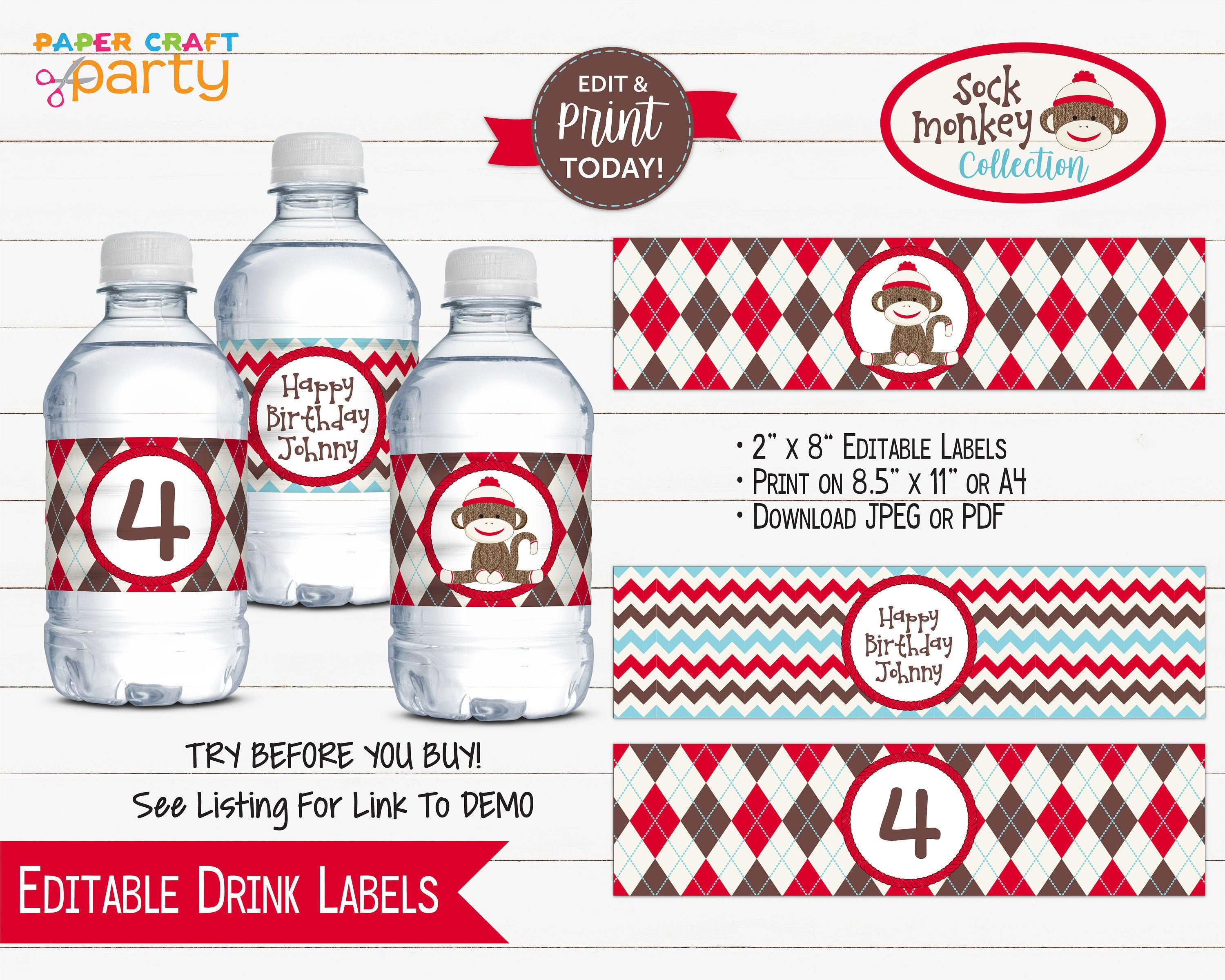 Surprising Sock Monkey Printable Birthday Drink Labels Printable Water Bottle Wrappers Edit Online Download Today With Free Corjl Com Smr Interior Design Ideas Lukepblogthenellocom