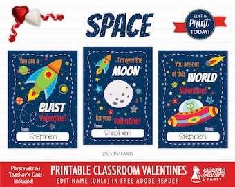 Space Valentine Cards   Personalized Printable Classroom Valentines   Classroom Exchange Cards   Edit in Free Adobe Reader