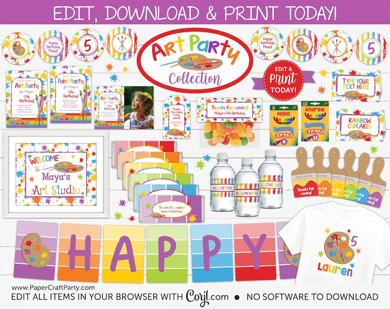 Art Paint Party Printable Party Kit Includes Invites and image 0