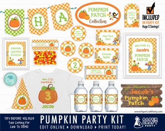 Pumpkin Patch Printable Party Kit Includes Invite and Decorations, Edit Online + Download Today With Free Corjl.com