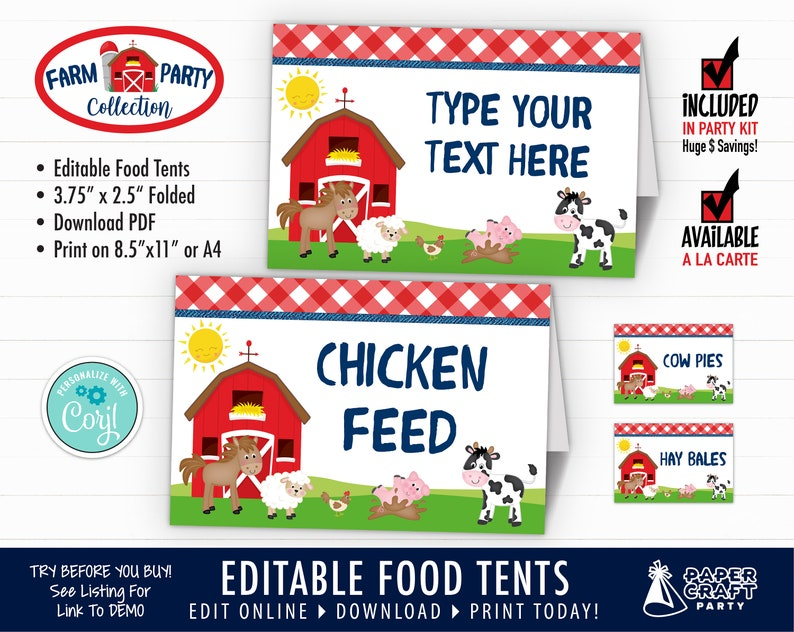 Farm Birthday Food Tents Place Cards Edit Online  Download image 0
