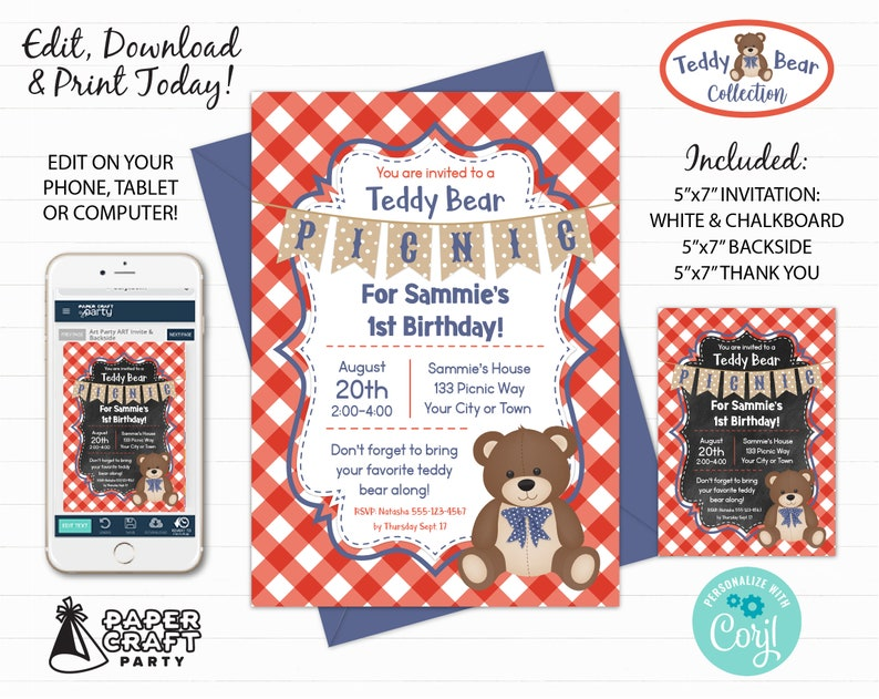 Teddy Bear Picnic Printable Invitation Thank You Note & image 0