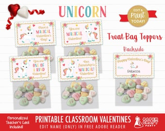 Unicorn Valentine Treat Bag Toppers   Personalized Printable Classroom Valentines   Classroom Exchange   Edit in Free Adobe Reader