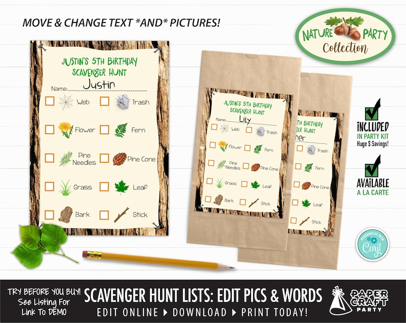 Scavenger Hunt Printable Lists with Editable Pictures & Words image 0