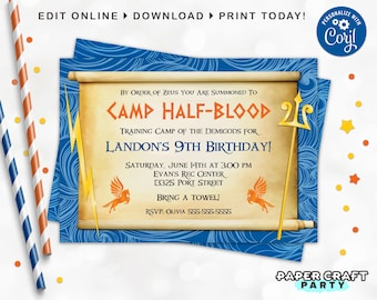 Demigod Birthday Invitation, Backside & Thank You Included, Printable Demigod Invite, Edit Online + Download Today with free Corjl.com 0024