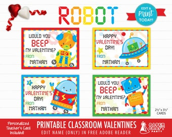Robot Valentine Cards | Personalized Printable Classroom Valentines | Classroom Exchange Cards | Edit in Free Adobe Reader