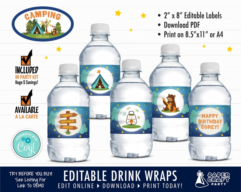 Camping Party Drink Labels Printable Birthday Water Bottle image 0