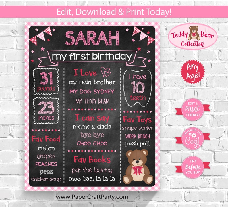 Teddy Bear Milestone Chalkboard Poster for Any Age Pink and image 0