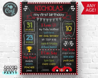 Race Car Milestone Chalkboard Poster for Any Age, Printable Sign, Edit Online + Download Today With Free Corjl.com 0062