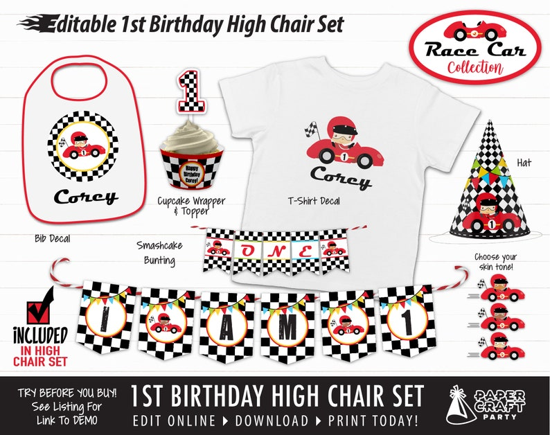 Race Car 1st Birthday High Chair Set: Hat Bib Banner image 0
