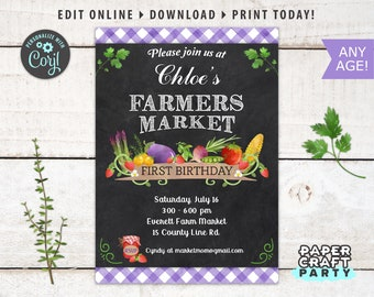 Farmers Market Printable Invitation, Thank You & Backside Included, Chalkboard Purple, Edit Online + Download Today With Free Corjl.com 0015