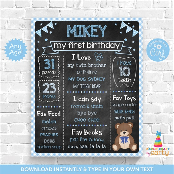 teddy bear milestone chalkboard poster for any age printable sign