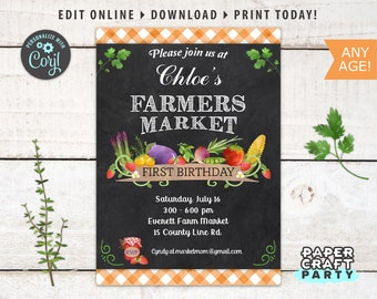 Farmers Market Printable Invitation, Thank You & Backside Included, Chalkboard Orange, Edit Online + Download Today With Free Corjl.com 0015