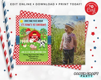 Farm Party Printable PHOTO Invitation and Thank You Note in RED, Includes Backside, Edit Online + Download Today With Free Corjl.com 0044