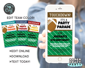 Football Drive By Birthday Parade Invite, Social Distancing Quarantine Party, Edit Online + Download Today With Free Corjl.com 1028