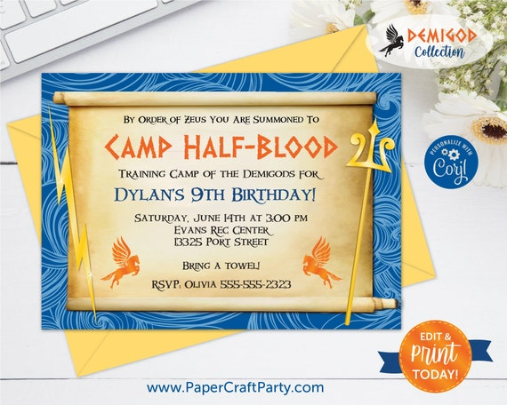 Demigod Birthday Invitation Backside Thank You Note Included