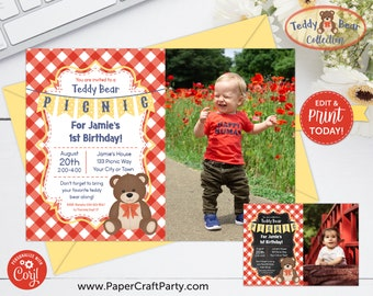Teddy Bear Picnic Printable PHOTO Invitation & Thank You Note, Includes Backside, Edit Online + Download Today With Free Corjl.com 0083G