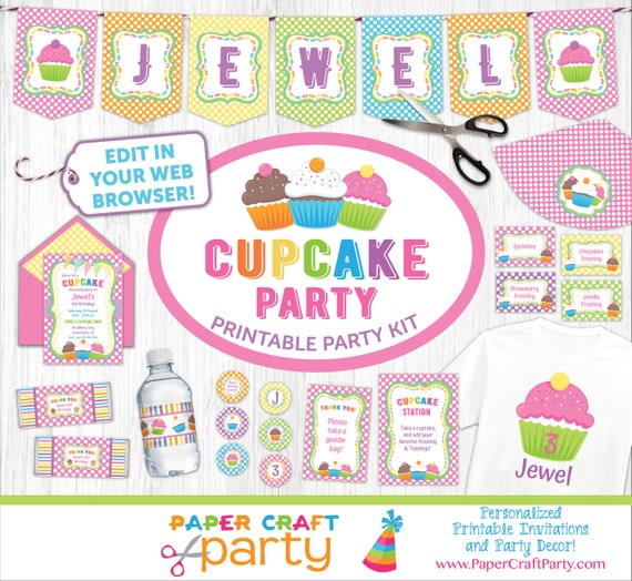 Cupcake Printable Party Kit Includes Invite And Decorations Instant