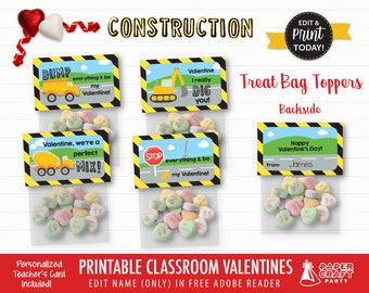 Construction Valentine Treat Bag Toppers | Personalized Printable Classroom Valentines | Classroom Exchange | Edit in Free Adobe Reader