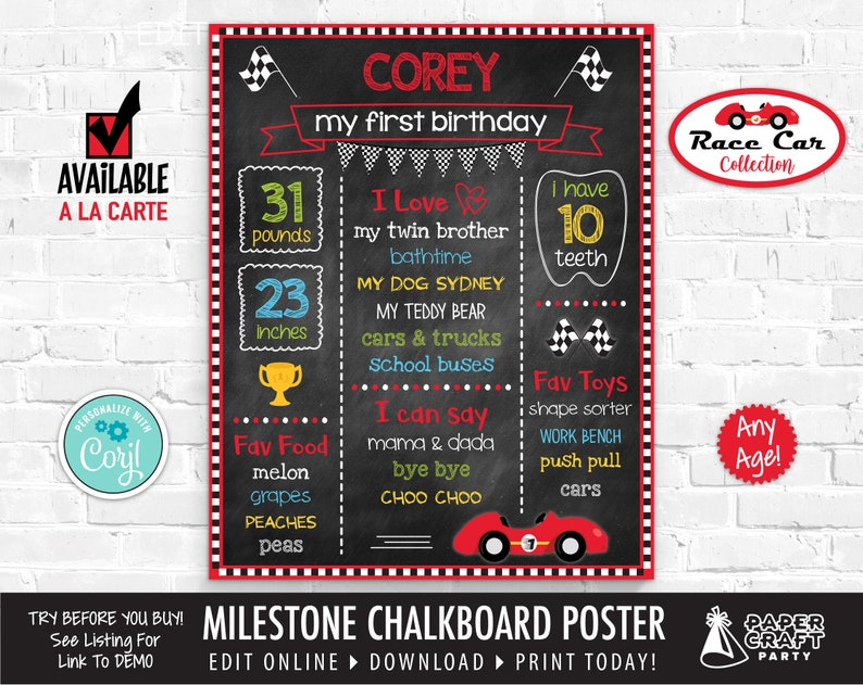 Race Car Milestone Chalkboard Poster for Any Age Printable image 0