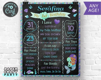 Mermaid Printable Chalkboard Sign, Milestone Poster, Under the Sea, African American, Edit Online + Download Today With Free Corjl.com