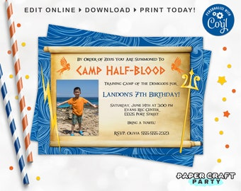 Demigod Party PHOTO Invitation, Backside & Thank You Included, Printable Demigod Invite, Edit Online+Download Today with free Corjl.com 0024