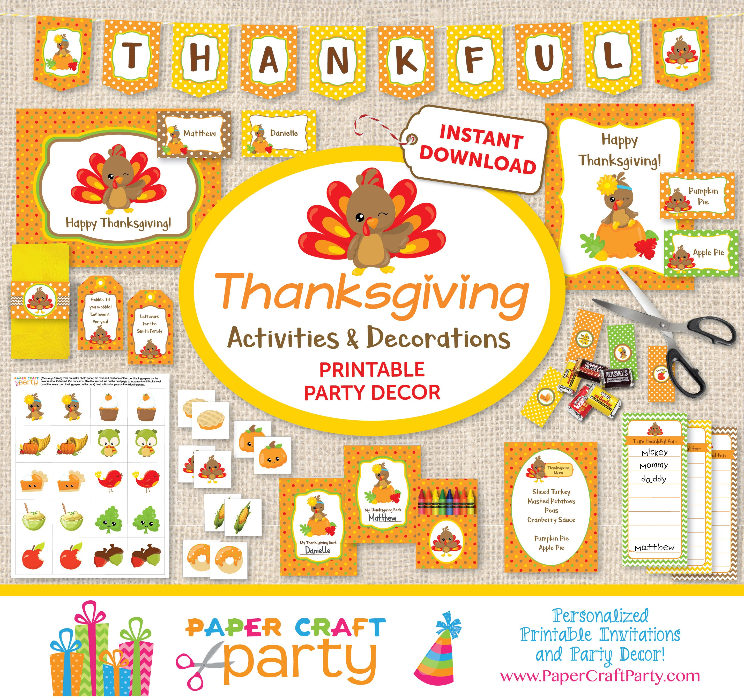 graphic about Thanksgiving Printable Decorations titled Children Thanksgiving Printable Decor Things to do - Small children Desk - Thanksgiving Banner - Drop Bash - All of a sudden Down load and Edit within just Adobe Reader