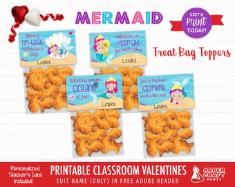 Mermaid Valentine Treat Bag Toppers   Personalized Printable Classroom Exchange Cards   Edit in Free Adobe Reader
