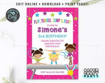 Gymnastics Printable Invitation and Thank You Note, Includes Backside, Olympics Edit Online + Download Today With Free Corjl.com 0021